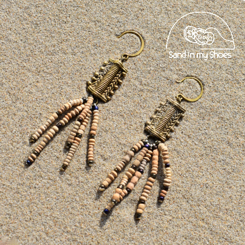 Termite Long Tassel Earring with Brass Lace - By Callia