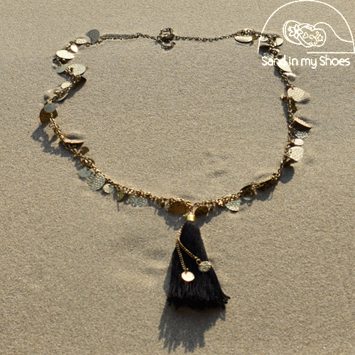 Necklace Coins Tassles - Black - Isla Ibiza
