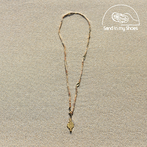 CLAY CONVERTIBLE Y NECKLACE WITH BRASS SUN