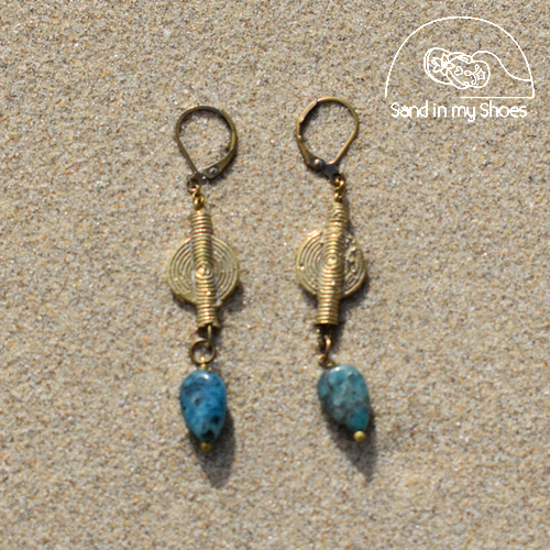Sea Colors Brass Stone - Apatite with Brass Shapes - By Callia