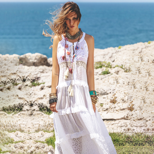 Maxi Jurk Crochet Savage Culture - White