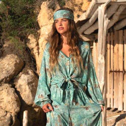 Isla Bow Blouse All Over Printed – Turquoise 8220512, Isla Ibiza Bonita