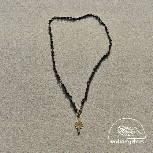 BLACK PAPYRUS CONVERTIBLE Y NECKLACE WITH BRASS SUN