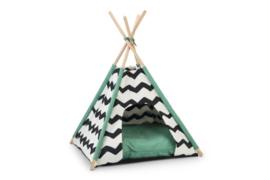 Kioni Tipi Tent - Kattenhuis - Zwart/Wit - 50x50x70 cm