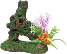 Polyresin Boomstronk Ornamet met Mos en Plant, 17 cm