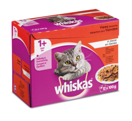 Whiskas Adult 1+ Maaltijdzakjes Vlees in Gelei 12x100gr