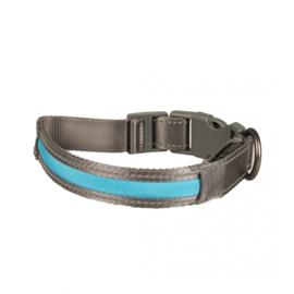 Hondenhalsband Metal Flash Licht USB Nylon - Blauw - 34-41cm/2,5cm