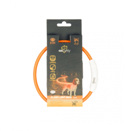 Flash Light ring, Licht Gevende Halsband,  usb Nylon Oranje 45cm