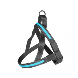 Hondentuig Metal Harnas Flash Licht USB Nylon - Blauw - 60-75cm/2,5cm