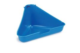Toilet voor knaagdier, konijn en fret, hoekmodel, blauw