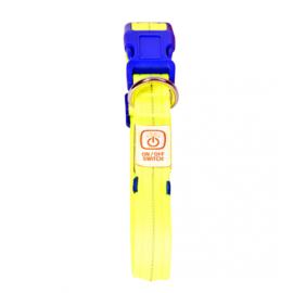 Hondenhalsband Nylon Licht USB - Neon Geel - 30-40cm/2,5cm