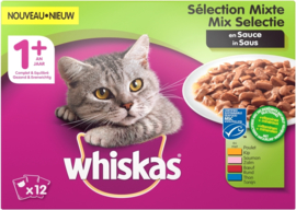 Whiskas Adult 1+ Maaltijdzakjes Vis/Vlees in Saus 12x100gr