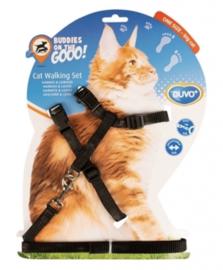 Grote Kat Wandelset Nylon Uni Zwart 30-50cm/12mm -125cm