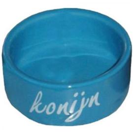 Konijn eetbak steen blauw 12cm