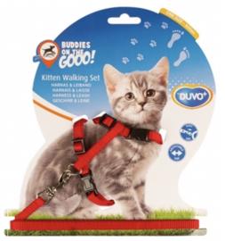 Kitten Wandelset Nylon Uni Rood 15-25cm / 8mm-125cm