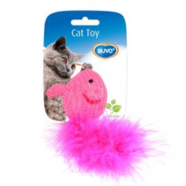 Speelmuisje Wol Blauw/Roze