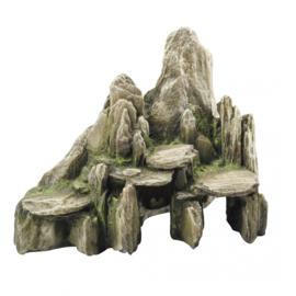 Deco Steen met Mos Groen Large - met Schuilplaats - 25,5 x 15,5 x 20 cm