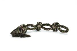 Katoen flossytouw 3 knopen, legergroen, 600gram