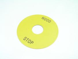 Noodstop  etiket (kunststof) Diameter 9 cm. M22