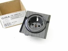 Gira wandcontact doos inbouw zwart glimmend