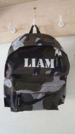 Rugzak stoer lettertype als 'Liam'