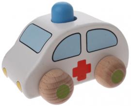 Houten ziekenwagen 9,5 x 6 x 7 cm