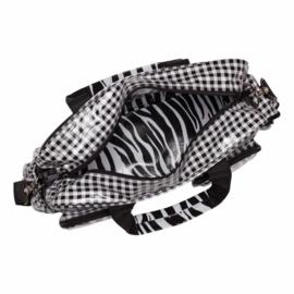 Luiertas ruit zwart met zebraprint