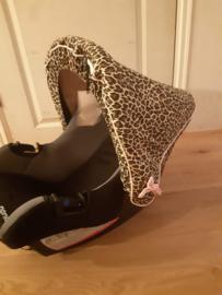 Autostoelhoes en kinderwagen kap Panter / roze