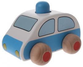 Houten politiewagen 9,5 x 6 x 7 cm