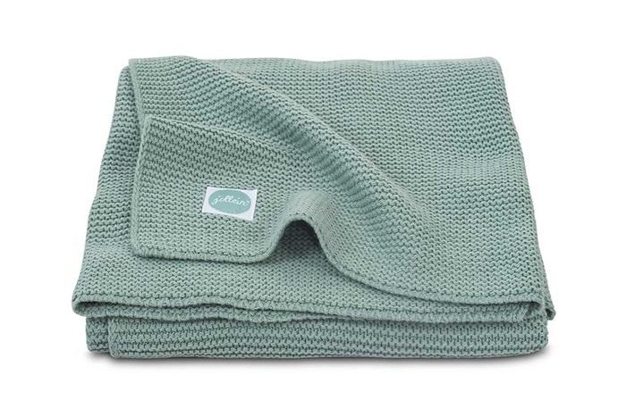 Deken knit Forest Green (wieg of ledikant)