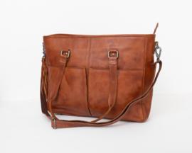 Elegante vrouwelijke zeer ruime leren werktas met laptopvak, cognac- Bag2bag