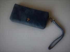 Portemonnee/clutch donkerblauw met polsbandje