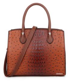 Stevige handtas met struisvogelmotief, bruin - Giuliano