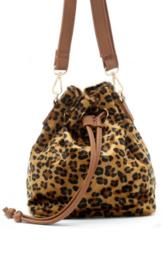 Klein schoudertasje met luipaardprint