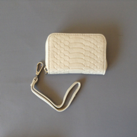 Klein (mini) portemonnee met kroko structuur, roomwit/creme, Giuliano