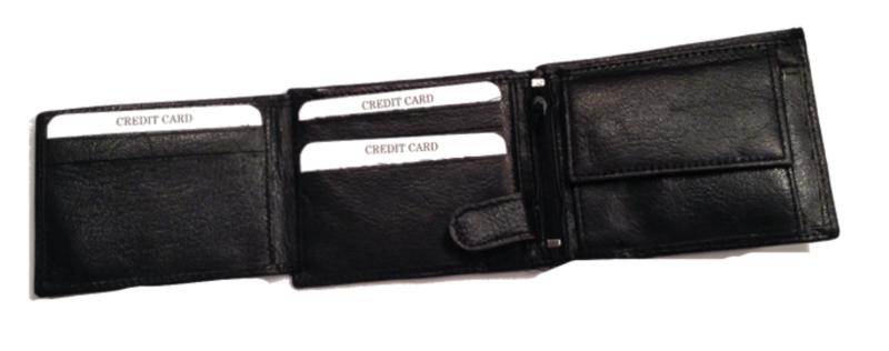 Leren heren portemonnee, zwart