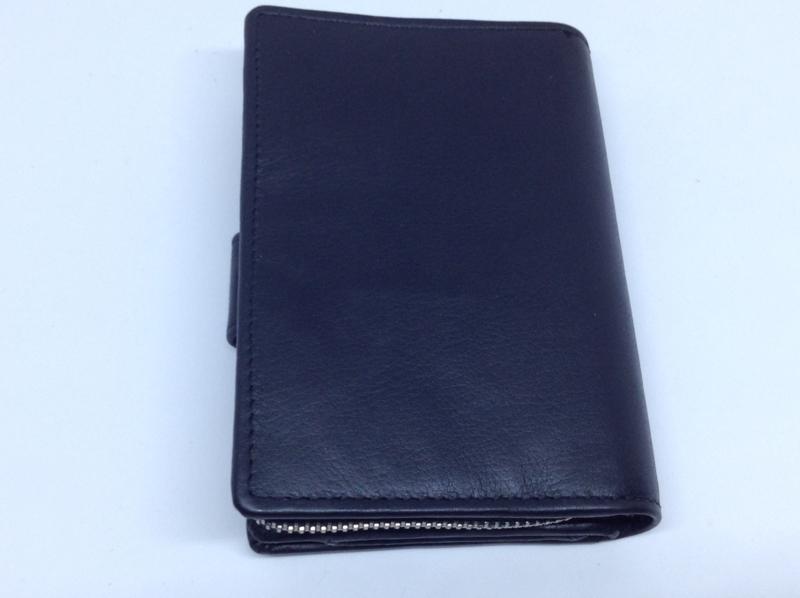 Zwart leren portemonnee | Harbour 2nd | drukknop en rits