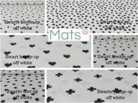 Fijne wafel boxkleed met katoen zwart/wit printje