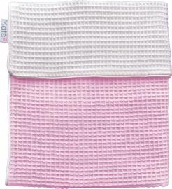 Wiegdeken fijne wafel dubbel, roze