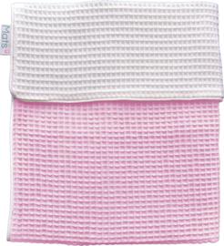 Ledikantdeken fijne wafel dubbel, roze