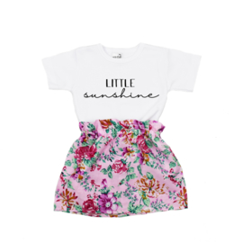 Shirt Little Sunshine | Rokje Floral Pink