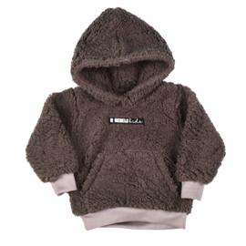 Teddy Hoodie met Voorzak en Logo | Taupe | Handmade