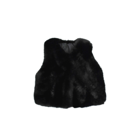 Gilet - Faux Fur Black - Handmade