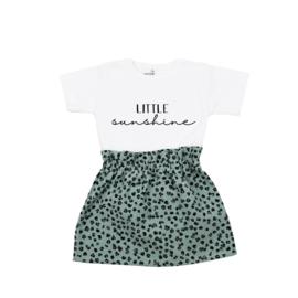 Shirt Little Sunshine | Rokje Leopard Old Green