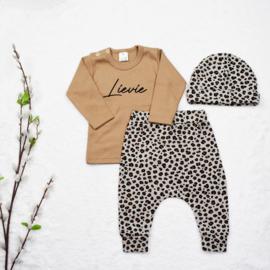 Outfit Deal   Naamshirt & Harembroekje Mini Leopard
