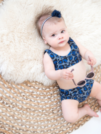 Exclusieve Baby Highwaist Bikini | Leopard Royal Blue | Handmade