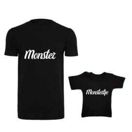 Twinning set - Men's shirt & Baby shirt - Monster & Monstertje