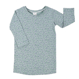T-Shirt Dress | Mini Flower | Old Green | Handmade