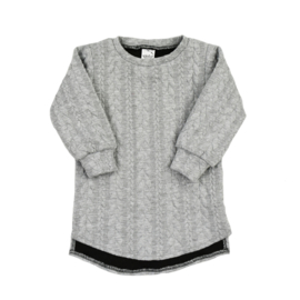 Baggy Sweaterdress met split | Cable | Grey