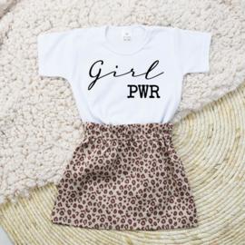 Shirt Girl PWR | Rokje Leopard Taupe